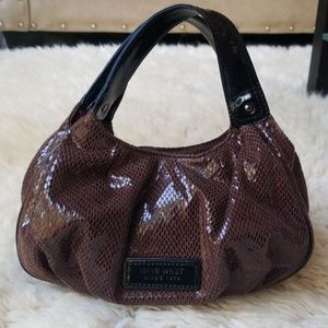 Nine West Faux Snakeskin Patent Leather Mini Bag